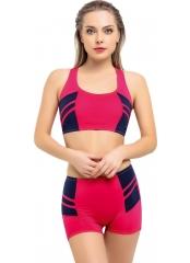 Fuşya Modelli Şeritli Şortlu Yüzücü Bikini