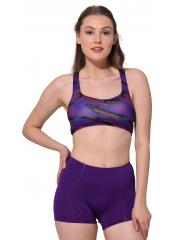 Desenli-Mor Modelli Desenli Badili Şortlu Yüzücü Bikini