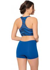Desenli-Saks Modelli Desenli Badili Şortlu Yüzücü Bikini