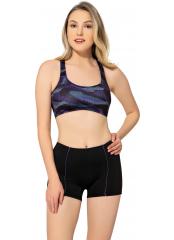 Desenli-Siyah Modelli Desenli Badili Şortlu Yüzücü Bikini