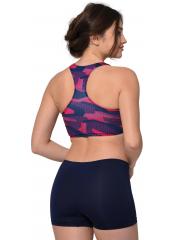 Desenli-Lacivert Modelli Desenli Badili Şortlu Yüzücü Bikini