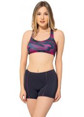 Desenli-Füme Modelli Desenli Badili Şortlu Yüzücü Bikini