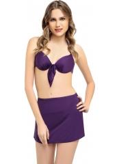 Mor Düz Fiyonklu Etekli Bikini