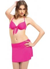 Pembe Düz Fiyonklu Etekli Bikini