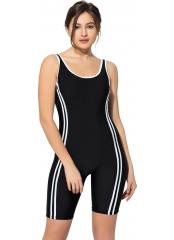 Siyah Uzun Şortlu Şeritli Düz Yüzücü Mayo