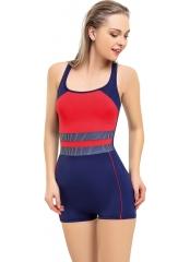 Lacivert-Kırmızı Yatay Desenli Şortlu Yüzücü Mayo