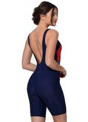 Lacivert Yatay Desenli Uzun Şortlu Yüzücü Mayo