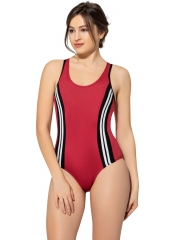 Kırmızı Şeritli Modelli Yüzücü Mayo