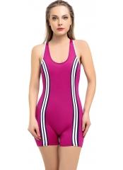 Fuşya Şeritli Şortlu Yüzücü Mayo