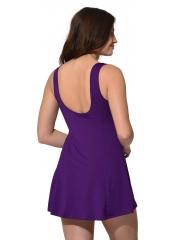 Desenli-Mor Desenli Parçalı Şortlu Elbise Mayo