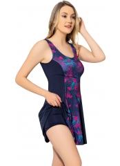 Desenli-Lacivert Desenli Parçalı Şortlu Elbise Mayo