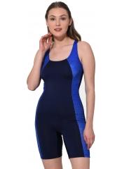 Lacivert Uzun Şortlu Modelli Şeritli Yüzücü Mayo