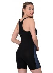 Siyah Uzun Şortlu Modelli Şeritli Yüzücü Mayo