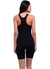 Turuncu-Siyah Uzun Şortlu Modelli Şeritli Yüzücü Mayo