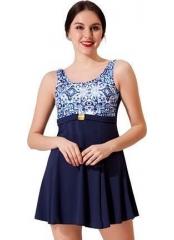 Lacivert Tokalı Desenli Garnili Elbise Mayo