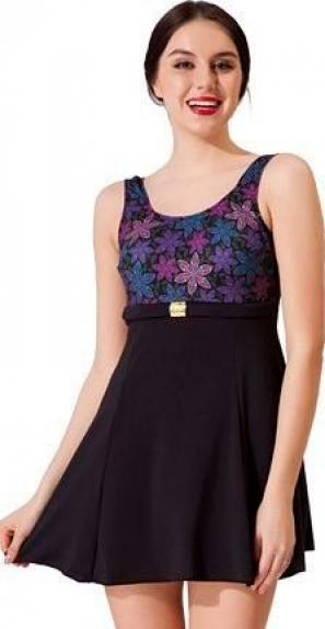 Siyah Tokalı Elbise Desenli Garnili Mayo
