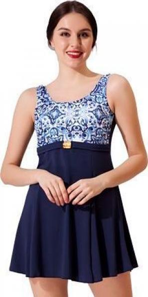 Lacivert Tokalı Elbise Desenli Garnili Mayo