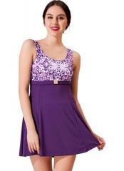 Mor Tokalı Elbise Desenli Garnili Mayo