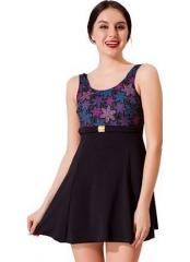 Siyah Tokalı Elbiseli Desenli Garnili Mayo