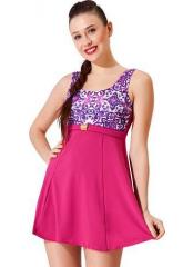 Pembe Tokalı Elbiseli Desenli Garnili Mayo