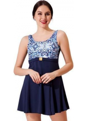 Lacivert Tokalı Elbiseli Desenli Garnili Mayo