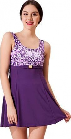 Tokalı Elbiseli Desenli Garnili Mayo