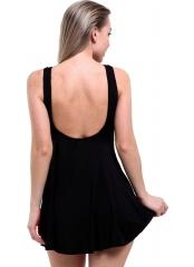 Siyah Elbise Desenli Garnili Mayo