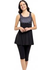 Siyah Desenli Garnili Taytlı Elbise Mayo