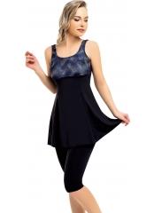 Füme-Siyah Desenli Garnili Taytlı Elbise Mayo