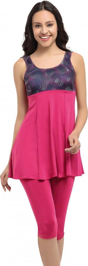Pembe Desenli Garnili Taytlı Elbise Mayo