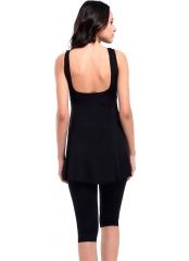 Siyah Desenli Garnili Taytlı Büyük Beden Elbise Mayo