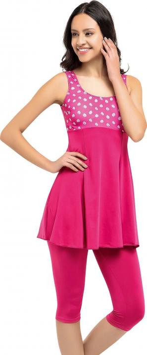 Pembe Desenli Garnili Taytlı Elbise Battal Mayo