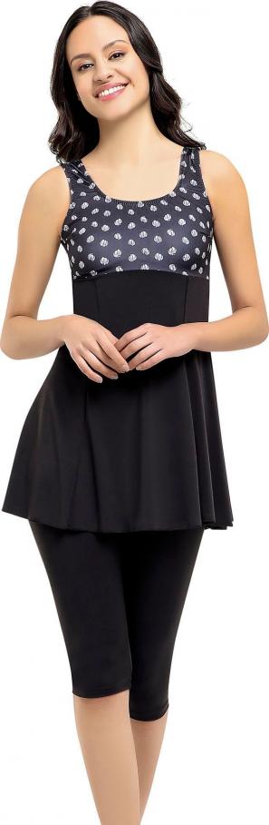 Siyah Desenli Garnili Taytlı Elbiseli Battal Mayo