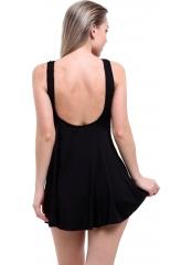 Siyah Düz Jumbo Büyük Beden Elbise Mayo
