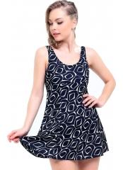 Lacivert Desenli Jumbo Büyük Beden Elbise Mayo