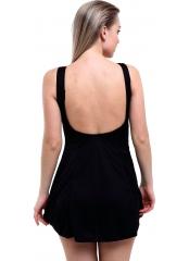 Siyah Parçalı Biyeli Düz Büyük Beden Elbise Mayo