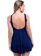 Lacivert Parçalı Biyeli Düz Büyük Beden Elbise Mayo