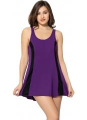 Parçalı Şeritli Şortlu Elbise Mayo