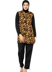 Sarı-Siyah Uzun Kollu Çeşitli Desenli Tam Tesettür