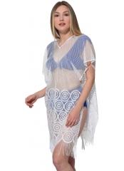 Beyaz Düz Renkli Halka Desenli Püsküllü Plaj Elbisesi Pareo