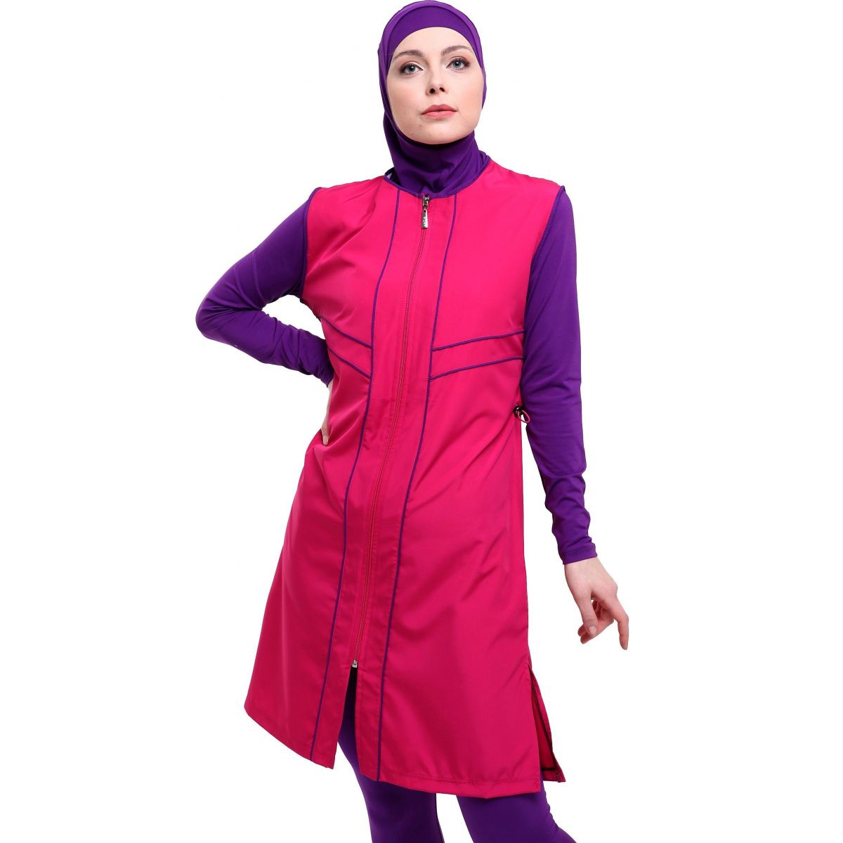 Argisa 7106 Long Micro Sleeves Piping Full Hijab Swimwear S-5XL Plus Size Muslim Hijab Islamic Swimsuit Burkini Turkey Full Cover