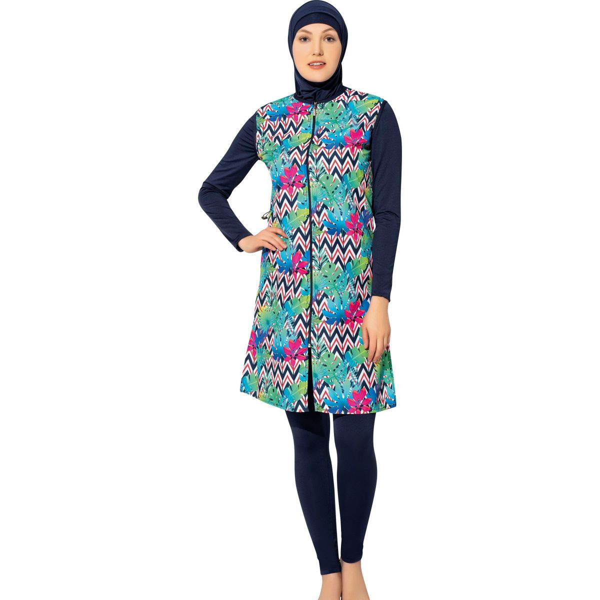 Argisa 7107 Long Micro Sleeves Board Patterned Full Hijab Swimwear S-XXL Muslim Hijab Islamic Swimsuit Burkini Turkey Full cover Swim