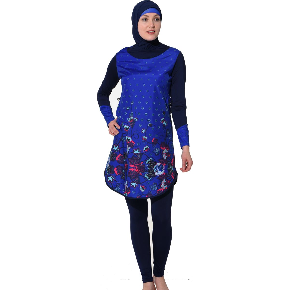 Argisa 7115 Long Sleeve burkini Muslim Swimwear S-XXL Hidden Zipper Hijab Hijab Islamic Swimsuit Burkinis Full Cover Swim surf