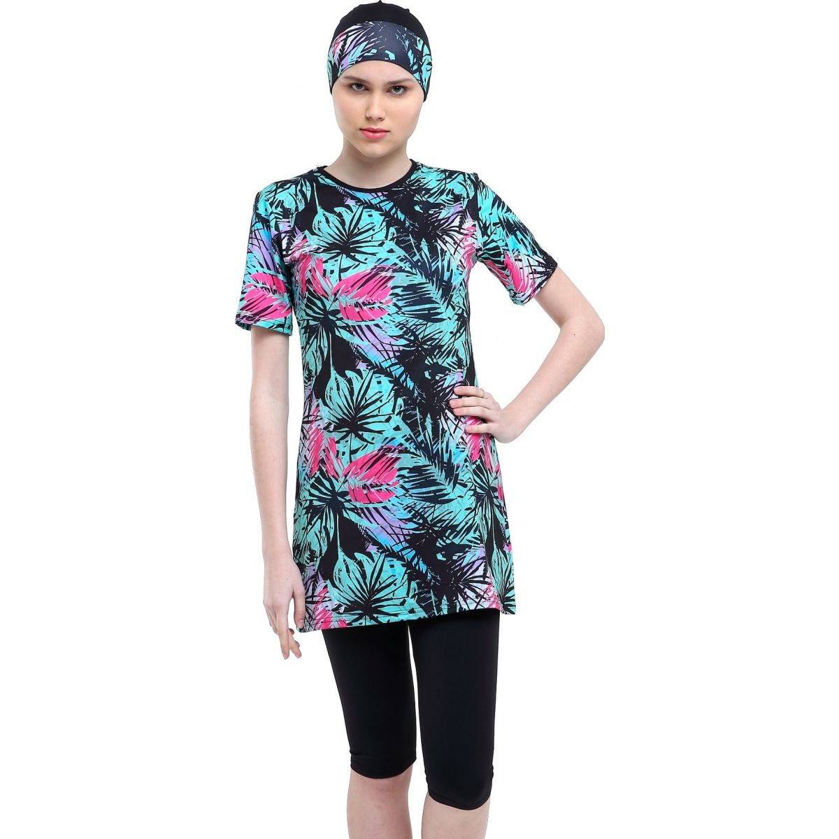 Argisa 7527 Half Sleeve Patterned Semi Hijab Swimwear 36-44 Muslim Hijab Islamic Swimsuit Burkini Turkey Half Cover With Swim Hat