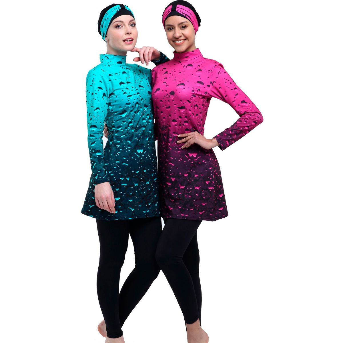 Argisa 7542 Long Sleeve Board Patterned Full Hijab Swimwear 36-44 Muslim Hijab Islamic Swimsuit Burkini Turkey Full Cover Swim Hat